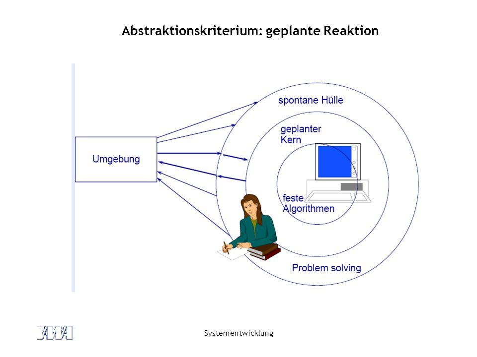 Systementwicklung Abstraktionskriterium: geplante Reaktion