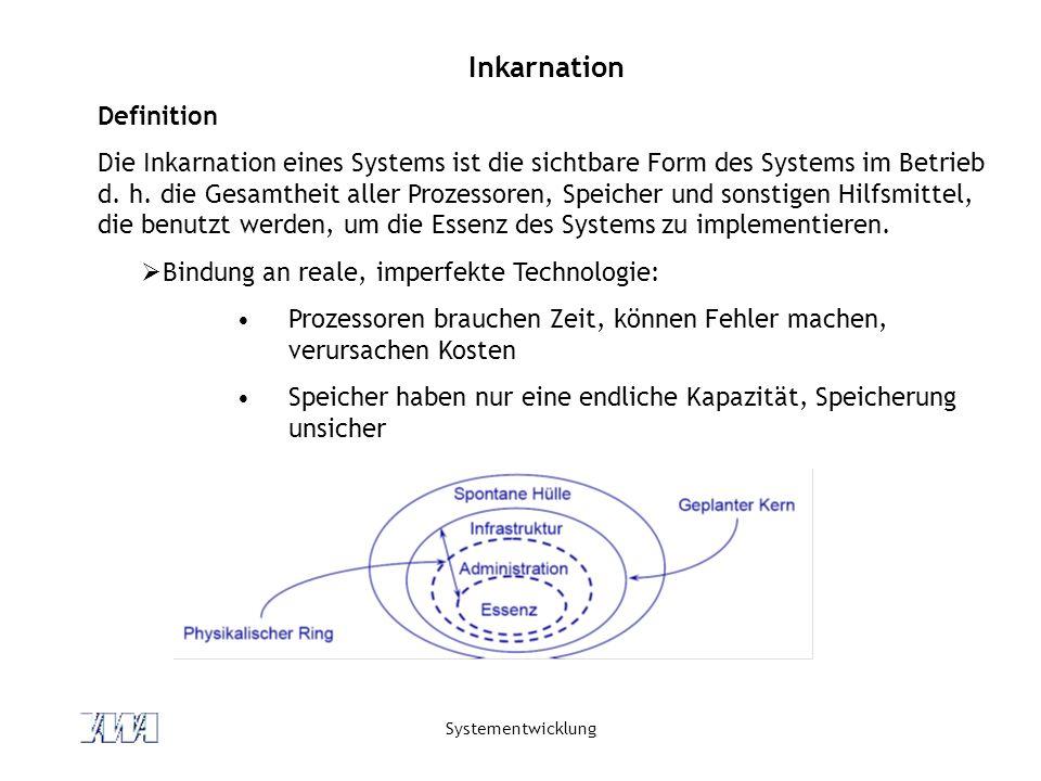 Systementwicklung Inkarnation Definition Die Inkarnation eines Systems ist die sichtbare Form des Systems im Betrieb d. h. die Gesamtheit aller Prozes