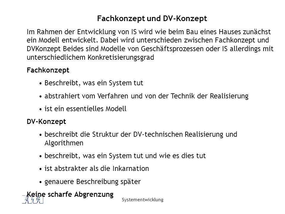 Systementwicklung Fachkonzept und DV-Konzept Im Rahmen der Entwicklung von IS wird wie beim Bau eines Hauses zunächst ein Modell entwickelt. Dabei wir