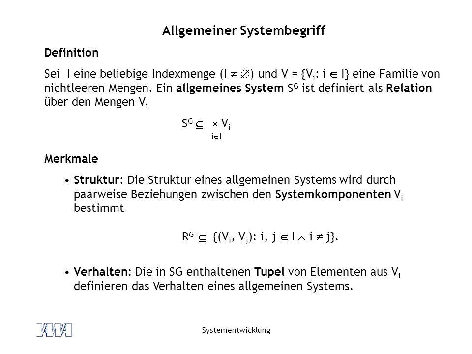Systementwicklung Allgemeiner Systembegriff Definition Sei I eine beliebige Indexmenge (I ) und V = {V i : i I} eine Familie von nichtleeren Mengen. E