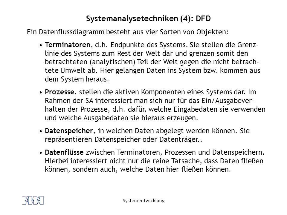 Systementwicklung Systemanalysetechniken (4): DFD Ein Datenflussdiagramm besteht aus vier Sorten von Objekten: Terminatoren, d.h. Endpunkte des System