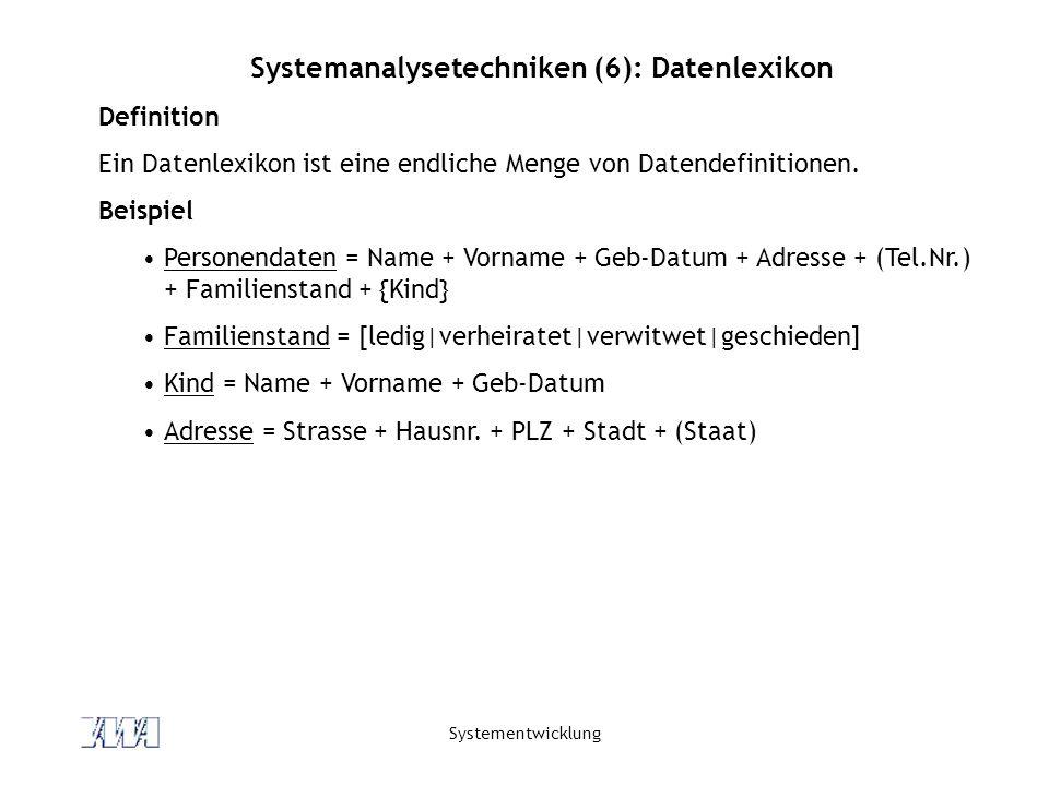 Systementwicklung Systemanalysetechniken (6): Datenlexikon Definition Ein Datenlexikon ist eine endliche Menge von Datendefinitionen. Beispiel Persone