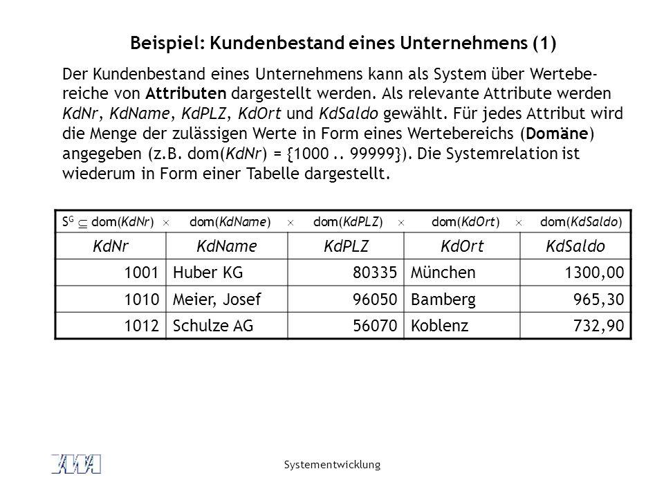 Systementwicklung Beispiel: Kundenbestand eines Unternehmens (2) Die Systemrelation beschreibt das Verhalten des Systems.