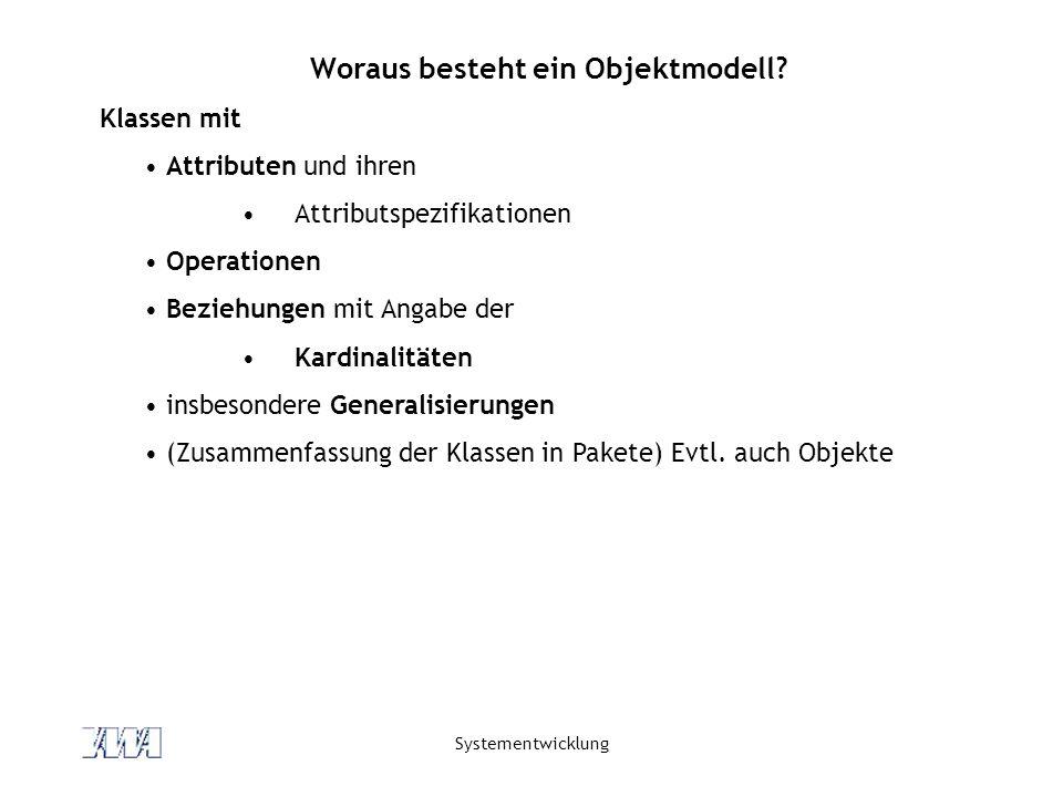 Systementwicklung Woraus besteht ein Objektmodell? Klassen mit Attributen und ihren Attributspezifikationen Operationen Beziehungen mit Angabe der Kar