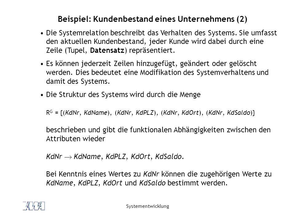 Systementwicklung Beispiel: Kundenbestand eines Unternehmens (2) Die Systemrelation beschreibt das Verhalten des Systems. Sie umfasst den aktuellen Ku