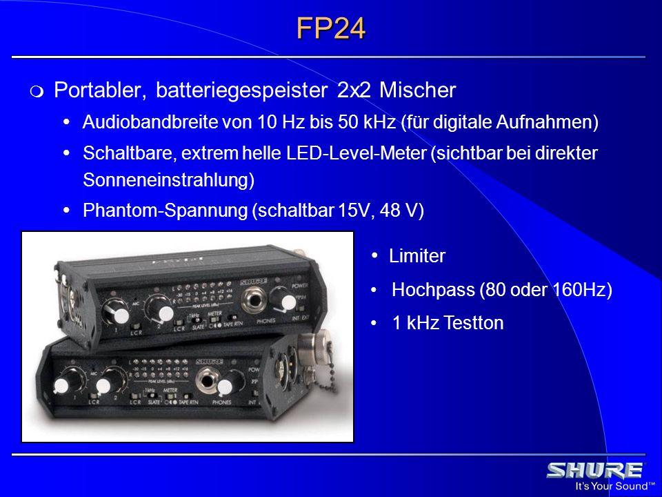 FP24 Portabler, batteriegespeister 2x2 Mischer Audiobandbreite von 10 Hz bis 50 kHz (für digitale Aufnahmen) Schaltbare, extrem helle LED-Level-Meter