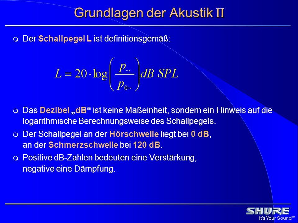 Grundlagen der Akustik II Der Schallpegel L ist definitionsgemäß: Das Dezibel dB ist keine Maßeinheit, sondern ein Hinweis auf die logarithmische Bere