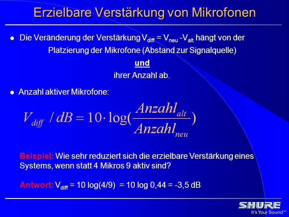Erzielbare Verstärkung von Mikrofonen Antwort: V diff = 10 log(4/9) = 10 log 0,44 = -3,5 dB Beispiel: Wie sehr reduziert sich die erzielbare Verstärku