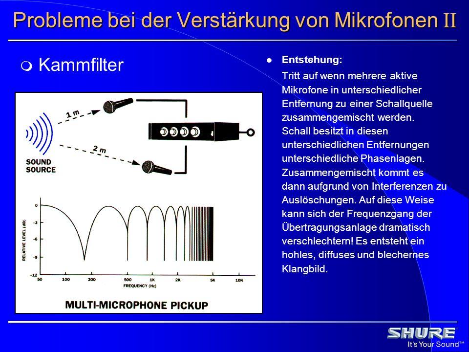Entstehung: Tritt auf wenn mehrere aktive Mikrofone in unterschiedlicher Entfernung zu einer Schallquelle zusammengemischt werden. Schall besitzt in d
