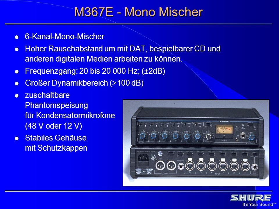 M367E - Frontseite 1 1Lautstärkeregler/1 kHz Tongenerator 2 2zuschaltbare Baßabsenkung pro Kanal 3 3Peak-Anzeige pro Kanal 4 4zuschaltbarer Limiter 5 5VU-Ausgangspegel 6 6Peak-Anzeige für Summe 7 7Taster für Batterietest 8,9 8,9An-/Ausschalter mit Kontroll-LED 10 10Lautstärkeregler für Kopfhörer 11 11Kopfhörerbuchsen Klinke (6,3 und 3,5 mm) 12 12Master-Lautstärkeregler