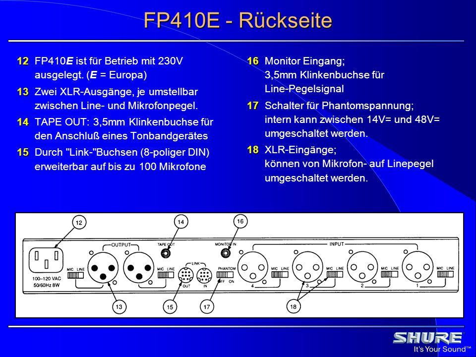 FP410E - Rückseite 12 12FP410E ist für Betrieb mit 230V ausgelegt. (E = Europa) 13 13Zwei XLR-Ausgänge, je umstellbar zwischen Line- und Mikrofonpegel