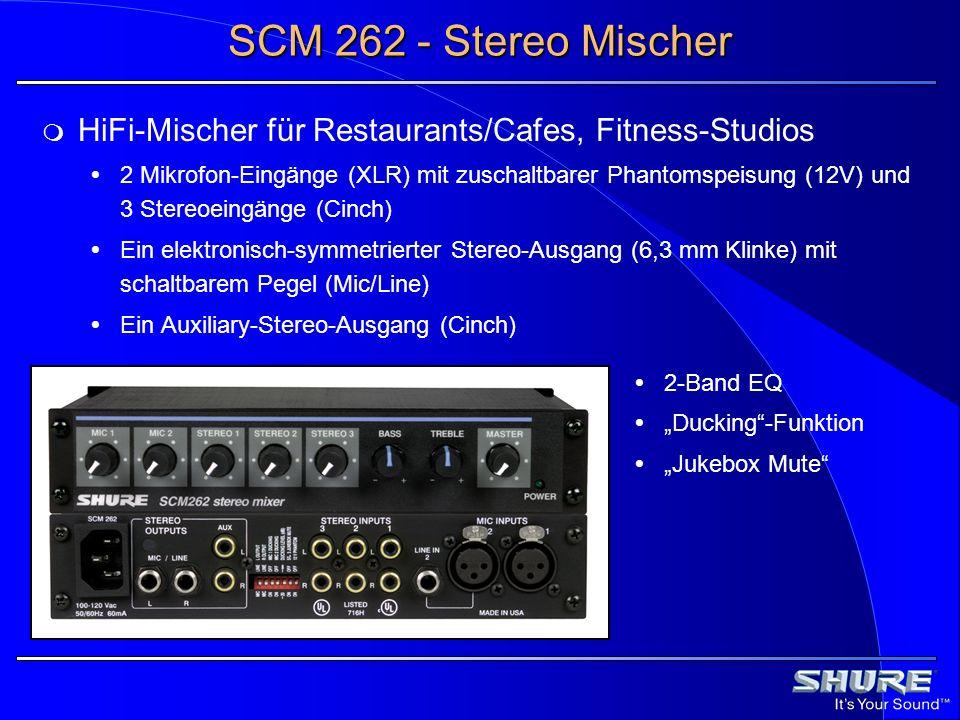 SCM 262 - Stereo Mischer HiFi-Mischer für Restaurants/Cafes, Fitness-Studios 2 Mikrofon-Eingänge (XLR) mit zuschaltbarer Phantomspeisung (12V) und 3 S
