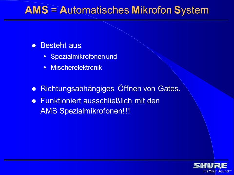 AMS = Automatisches Mikrofon System Besteht aus Spezialmikrofonen und Mischerelektronik Richtungsabhängiges Öffnen von Gates. Funktioniert ausschließl