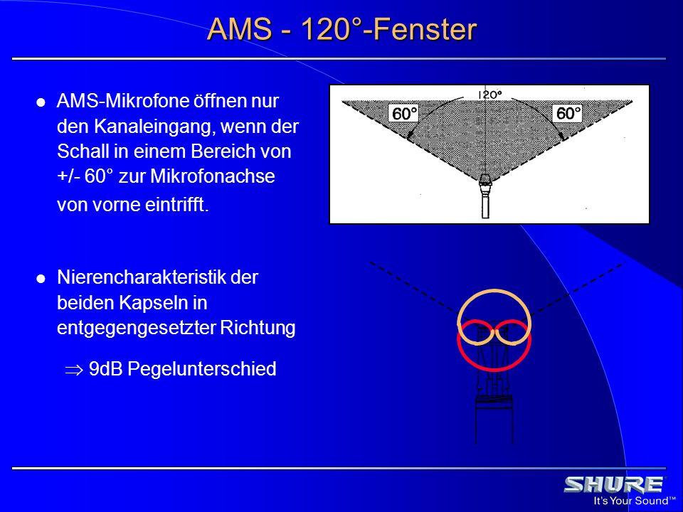 AMS - 120°-Fenster AMS-Mikrofone öffnen nur den Kanaleingang, wenn der Schall in einem Bereich von +/- 60° zur Mikrofonachse von vorne eintrifft. Nier