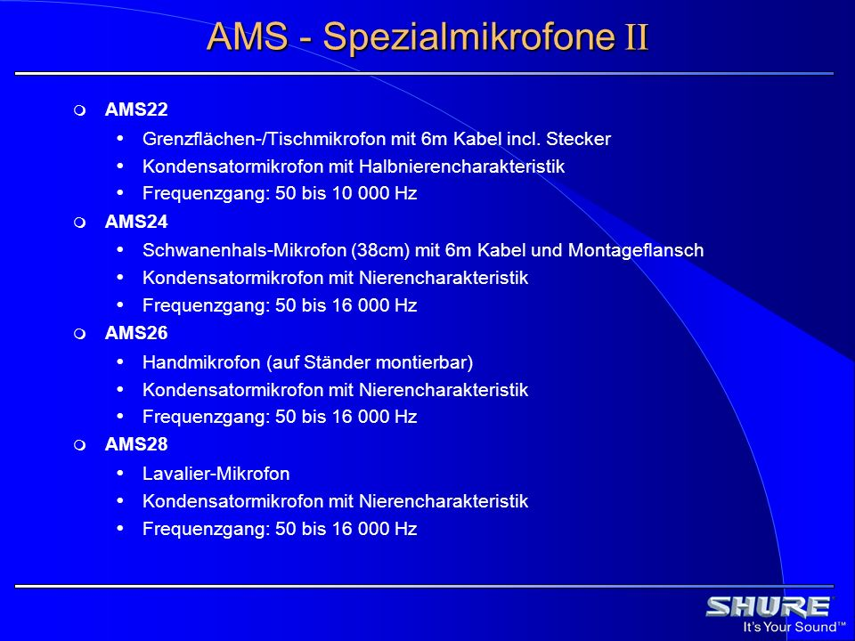 AMS - Spezialmikrofone II AMS22 Grenzflächen-/Tischmikrofon mit 6m Kabel incl. Stecker Kondensatormikrofon mit Halbnierencharakteristik Frequenzgang: