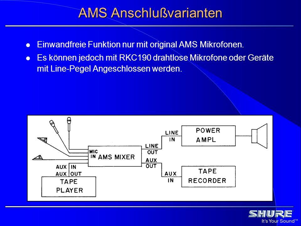 AMS Anschlußvarianten Einwandfreie Funktion nur mit original AMS Mikrofonen. Es können jedoch mit RKC190 drahtlose Mikrofone oder Geräte mit Line-Pege