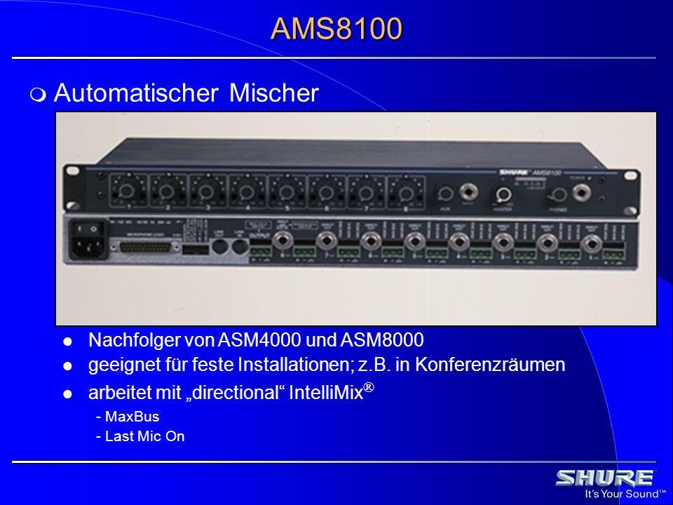 Automatischer Mischer Nachfolger von ASM4000 und ASM8000 geeignet für feste Installationen; z.B. in Konferenzräumen arbeitet mit directional IntelliMi