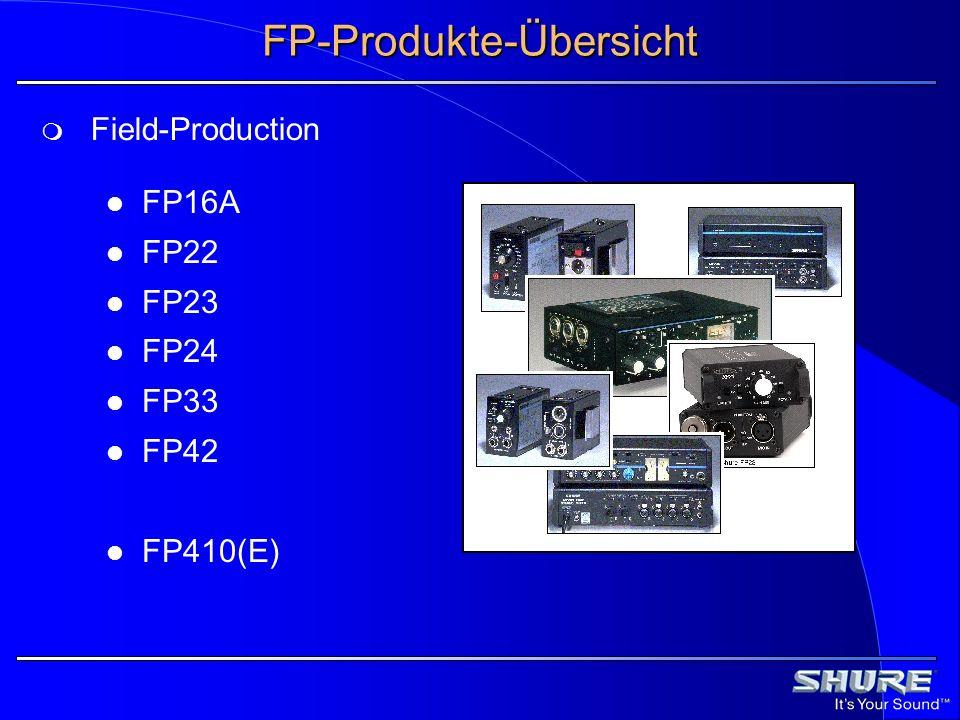 Anforderungenan FP-Produkte Mischer und Vorverstärker: Möglichst langer Batteriebetrieb Robust Feuchtigkeitsschutz Hoher Signal-Rausch-Abstand Mikrofone Kugelcharakteristik Windschutz