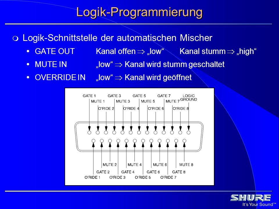 Logik-Programmierung Logik-Schnittstelle der automatischen Mischer GATE OUTKanal offen lowKanal stumm high MUTE INlow Kanal wird stumm geschaltet OVER