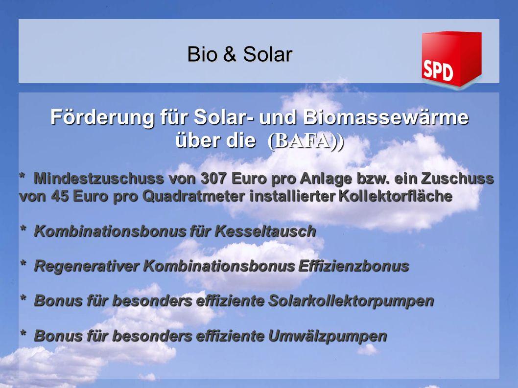 Förderung für Solar- und Biomassewärme über die (BAFA)) * Mindestzuschuss von 307 Euro pro Anlage bzw.