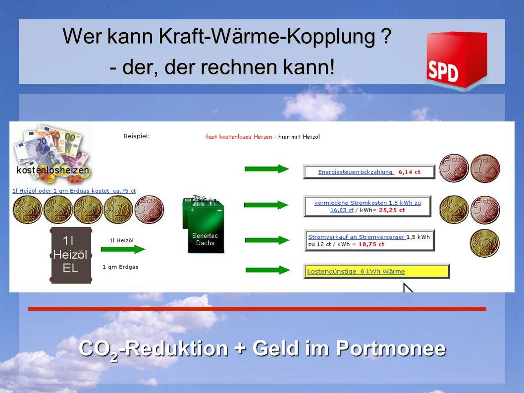 CO 2 -Reduktion + Geld im Portmonee Wer kann Kraft-Wärme-Kopplung ? - der, der rechnen kann!