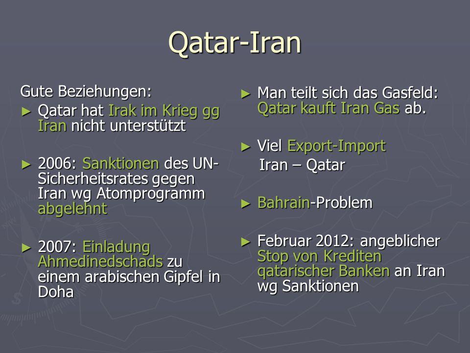 Qatar-Iran Gute Beziehungen: Qatar hat Irak im Krieg gg Iran nicht unterstützt Qatar hat Irak im Krieg gg Iran nicht unterstützt 2006: Sanktionen des UN- Sicherheitsrates gegen Iran wg Atomprogramm abgelehnt 2006: Sanktionen des UN- Sicherheitsrates gegen Iran wg Atomprogramm abgelehnt 2007: Einladung Ahmedinedschads zu einem arabischen Gipfel in Doha 2007: Einladung Ahmedinedschads zu einem arabischen Gipfel in Doha Man teilt sich das Gasfeld: Qatar kauft Iran Gas ab.