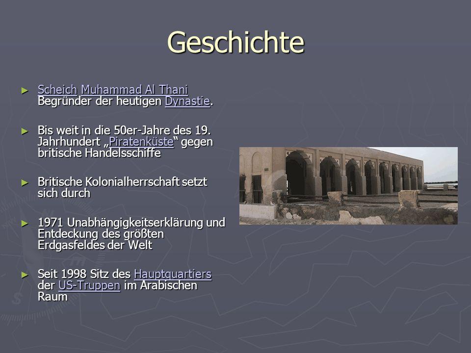 Herrschaft Emirat (absolute Monarchie) Emirat (absolute Monarchie) mit Verfassungs- abstimmung von 2003 mit Verfassungs- abstimmung von 2003 Der sunnitische Islam ist Staatsreligion.