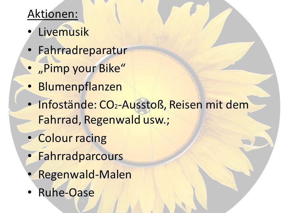 Aktionen: Livemusik Fahrradreparatur Pimp your Bike Blumenpflanzen Infostände: CO 2 -Ausstoß, Reisen mit dem Fahrrad, Regenwald usw.; Colour racing Fahrradparcours Regenwald-Malen Ruhe-Oase