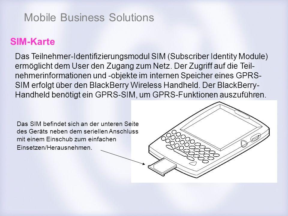 Mobile Business Solutions SIM-Karte Das Teilnehmer-Identifizierungsmodul SIM (Subscriber Identity Module) ermöglicht dem User den Zugang zum Netz. Der