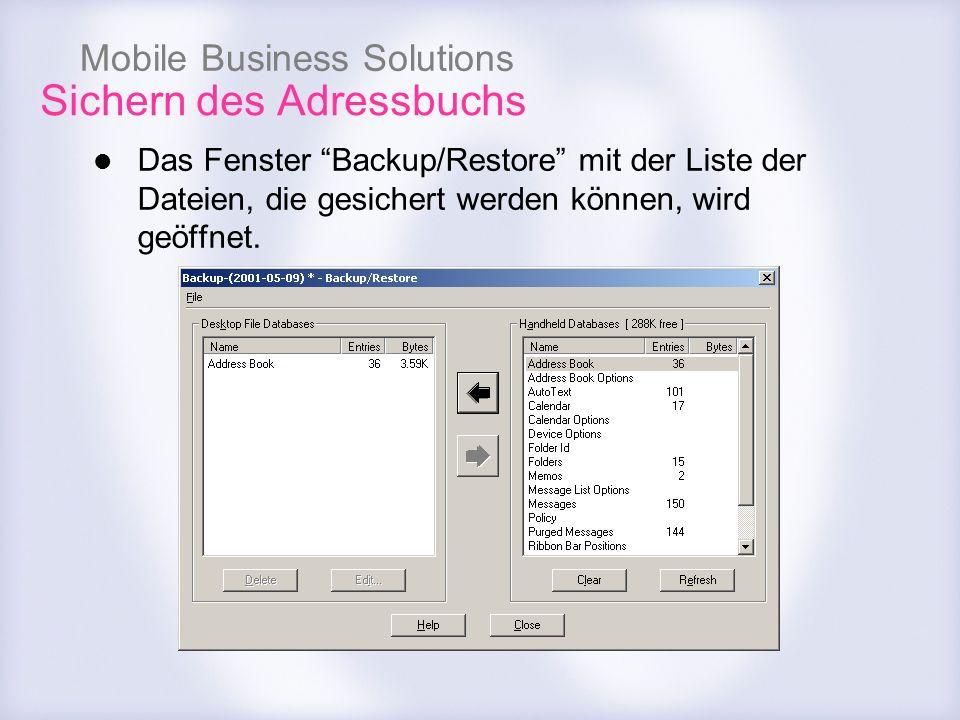 Mobile Business Solutions Sichern des Adressbuchs Das Fenster Backup/Restore mit der Liste der Dateien, die gesichert werden können, wird geöffnet.