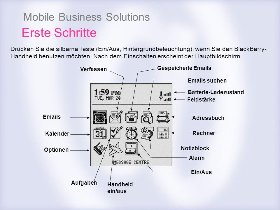 Mobile Business Solutions Emails Kalender Optionen Adressbuch Rechner Emails suchen Gespeicherte Emails Verfassen Handheld ein/aus Notizblock Alarm Ei