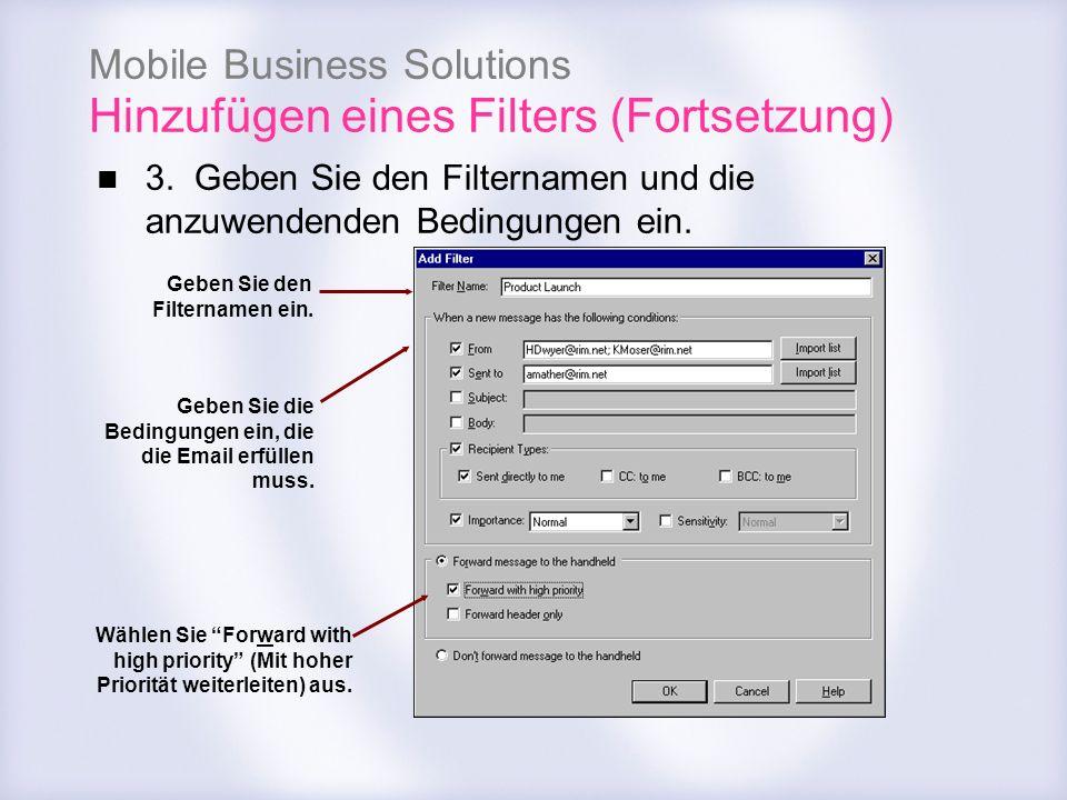 Mobile Business Solutions Hinzufügen eines Filters (Fortsetzung) 3. Geben Sie den Filternamen und die anzuwendenden Bedingungen ein. Geben Sie den Fil