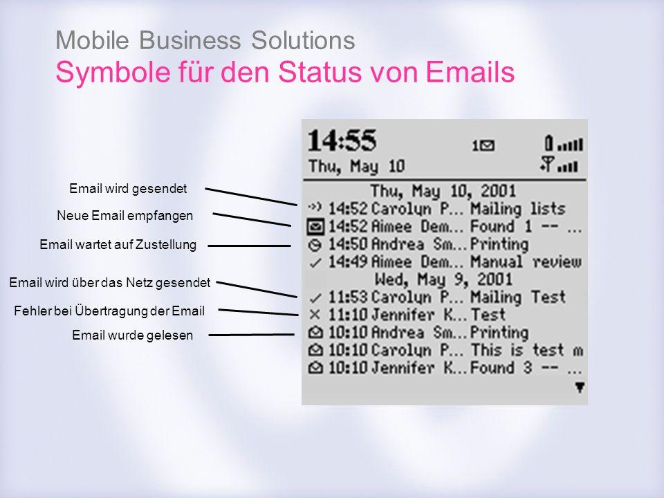 Mobile Business Solutions Symbole für den Status von Emails Neue Email empfangen Email wird gesendet Email wartet auf Zustellung Fehler bei Übertragun