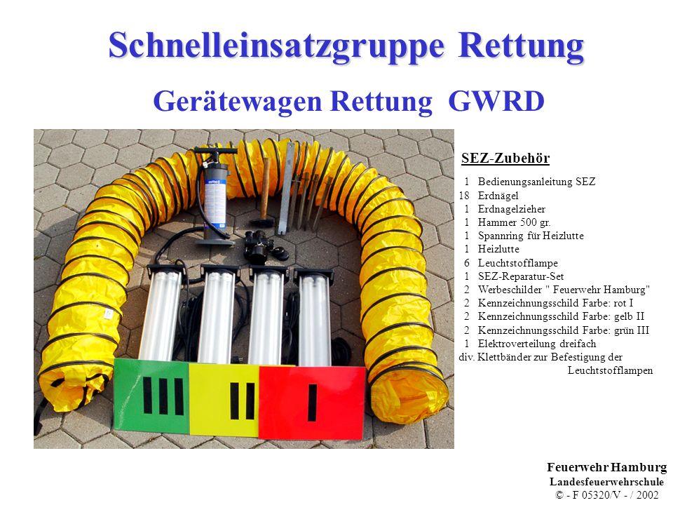 Schnelleinsatzgruppe Rettung Gerätewagen Rettung GWRD 1 Bedienungsanleitung SEZ 18 Erdnägel 1 Erdnagelzieher 1 Hammer 500 gr. 1 Spannring für Heizlutt