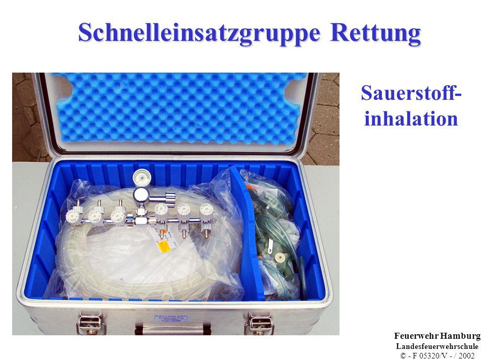 Schnelleinsatzgruppe Rettung Sauerstoff- inhalation Feuerwehr Hamburg Landesfeuerwehrschule © - F 05320/V - / 2002