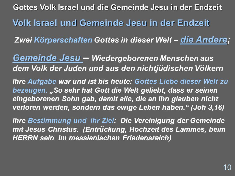 Volk Israel und Gemeinde Jesu in der Endzeit die Andere Zwei Körperschaften Gottes in dieser Welt – die Andere; Gemeinde Jesu Gemeinde Jesu – Wiederge