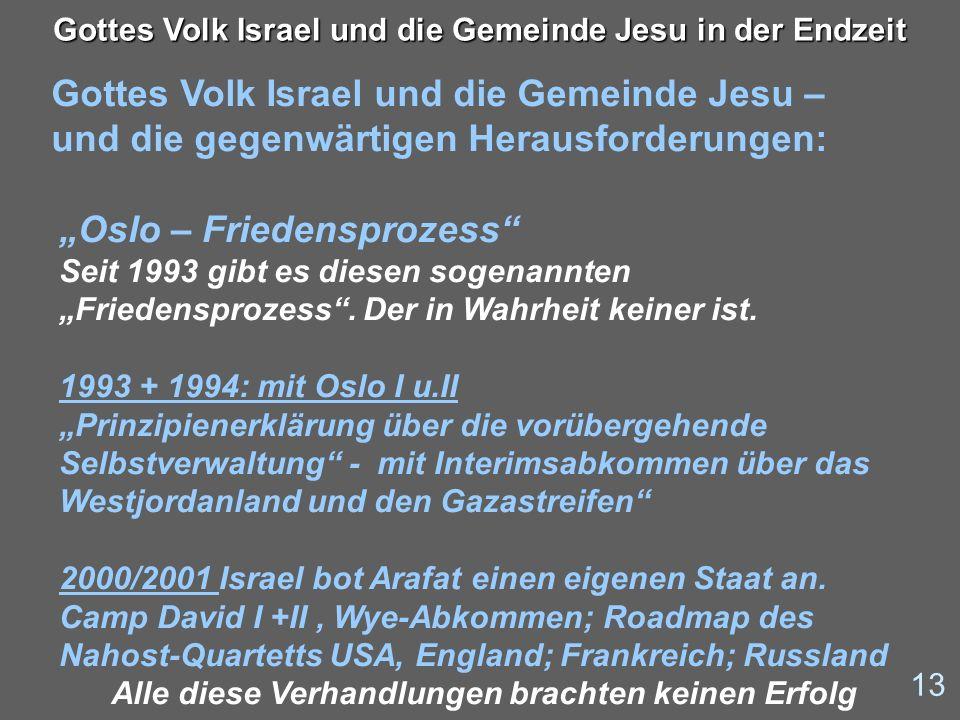 Gottes Volk Israel und die Gemeinde Jesu – und die gegenwärtigen Herausforderungen: 13 Gottes Volk Israel und die Gemeinde Jesu in der Endzeit Oslo –