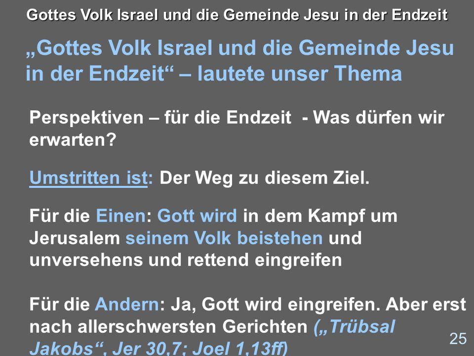 Gottes Volk Israel und die Gemeinde Jesu in der Endzeit – lautete unser Thema 25 Gottes Volk Israel und die Gemeinde Jesu in der Endzeit Perspektiven