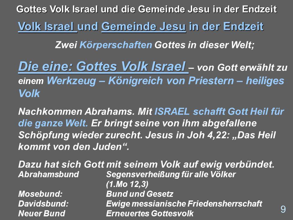 Volk Israel und Gemeinde Jesu in der Endzeit Zwei Körperschaften Gottes in dieser Welt; Die eine: Gottes Volk Israel Die eine: Gottes Volk Israel – vo
