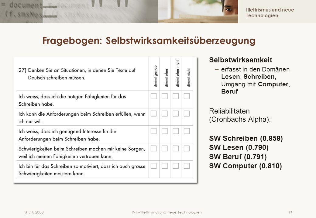 Illettrismus und neue Technologien INT Illettrismus und neue Technologien31.10.200814 Fragebogen: Selbstwirksamkeitsüberzeugung Selbstwirksamkeit –erfasst in den Domänen Lesen, Schreiben, Umgang mit Computer, Beruf Reliabilitäten (Cronbachs Alpha): SW Schreiben (0.858) SW Lesen (0.790) SW Beruf (0.791) SW Computer (0.810)
