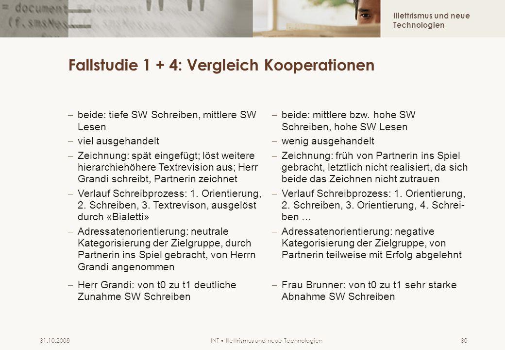Illettrismus und neue Technologien INT Illettrismus und neue Technologien31.10.200830 Fallstudie 1 + 4: Vergleich Kooperationen – beide: tiefe SW Schr