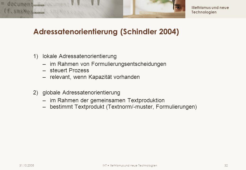 Illettrismus und neue Technologien INT Illettrismus und neue Technologien31.10.200832 Adressatenorientierung (Schindler 2004) 1)lokale Adressatenorien
