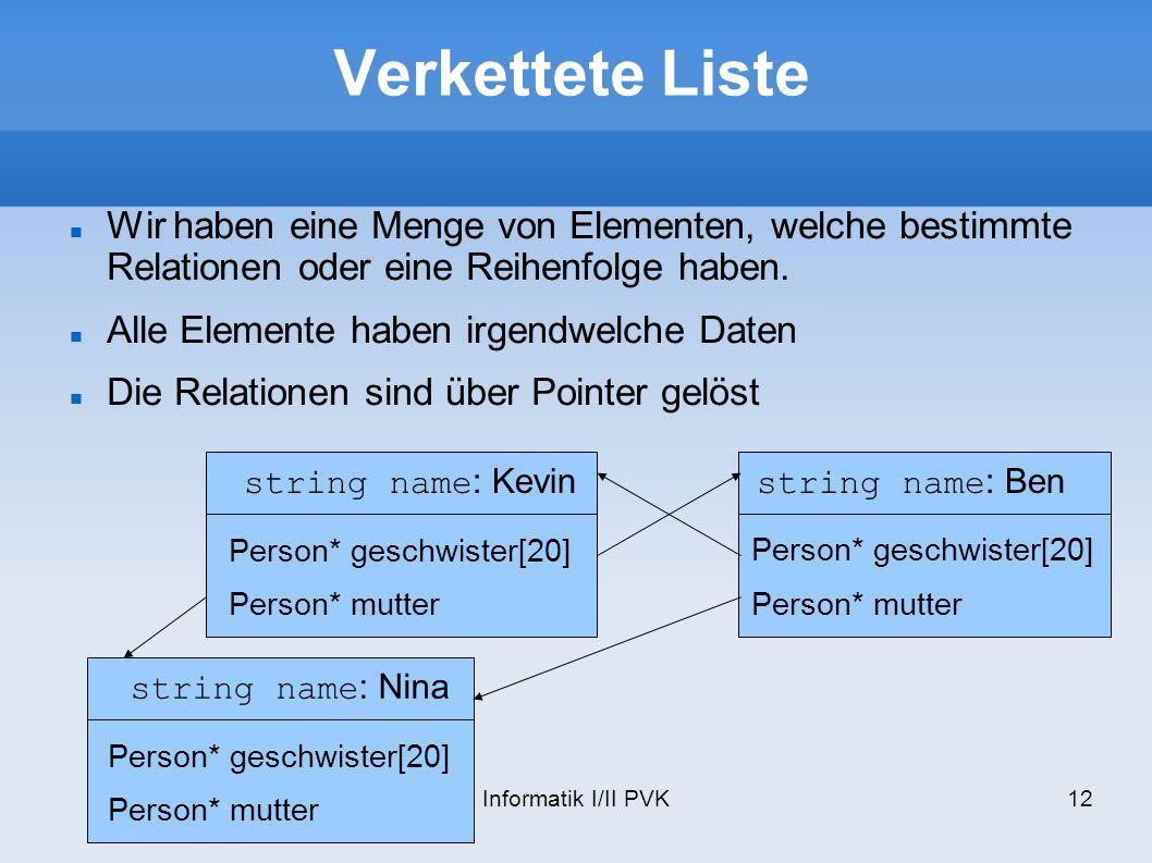 Informatik I/II PVK12 Verkettete Liste Wir haben eine Menge von Elementen, welche bestimmte Relationen oder eine Reihenfolge haben.
