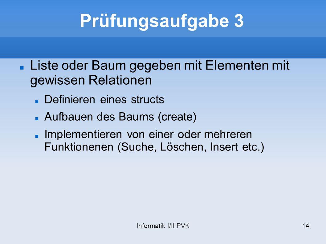 Informatik I/II PVK14 Prüfungsaufgabe 3 Liste oder Baum gegeben mit Elementen mit gewissen Relationen Definieren eines structs Aufbauen des Baums (create) Implementieren von einer oder mehreren Funktionenen (Suche, Löschen, Insert etc.)