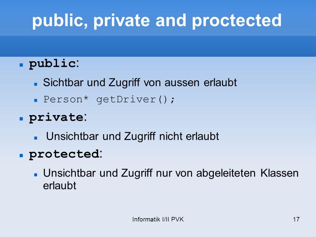 Informatik I/II PVK17 public, private and proctected public : Sichtbar und Zugriff von aussen erlaubt Person* getDriver(); private : Unsichtbar und Zugriff nicht erlaubt protected : Unsichtbar und Zugriff nur von abgeleiteten Klassen erlaubt