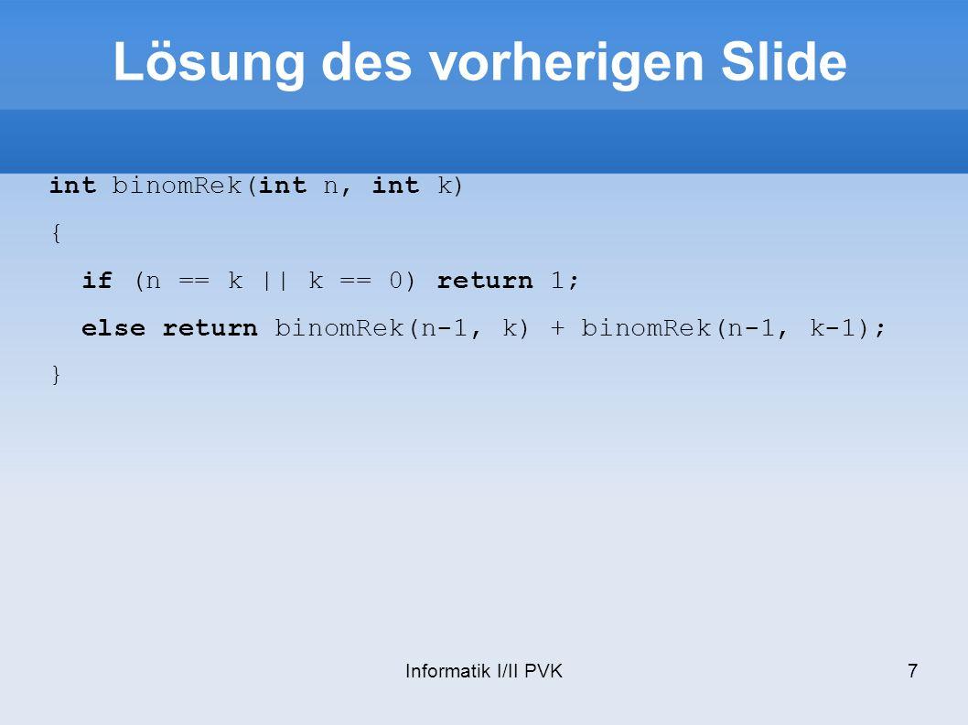 Informatik I/II PVK38 Abstrakte Klassen Von einer abstrakten Klasse lassen sich keine Objekte erzeugen Macht Sinn, wenn Basisklasse nicht vollständig ist Eine Klasse ist abstrakt falls sie eine rein virtuelle Methode deklariert virtual double area() = 0;
