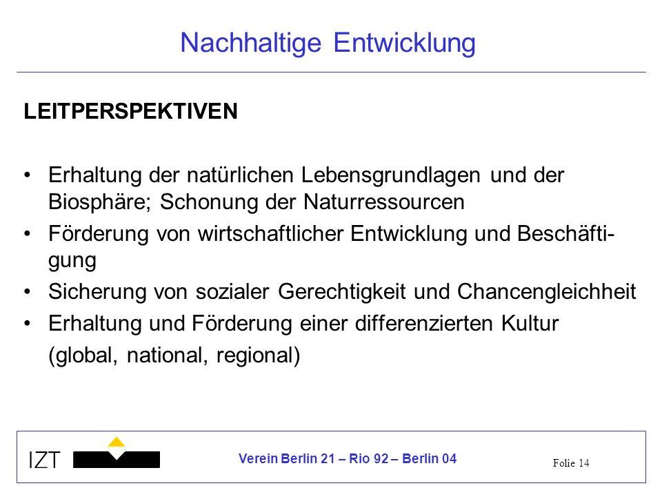 Folie 14 Verein Berlin 21 – Rio 92 – Berlin 04 Nachhaltige Entwicklung LEITPERSPEKTIVEN Erhaltung der natürlichen Lebensgrundlagen und der Biosphäre;