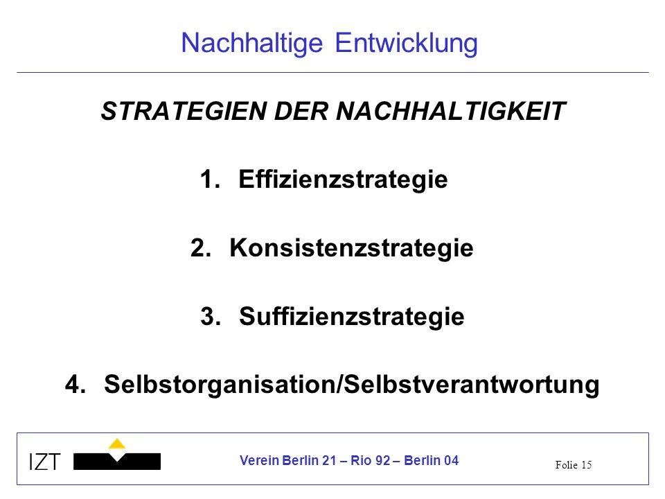 Folie 15 Verein Berlin 21 – Rio 92 – Berlin 04 Nachhaltige Entwicklung STRATEGIEN DER NACHHALTIGKEIT 1.Effizienzstrategie 2.Konsistenzstrategie 3.Suffizienzstrategie 4.Selbstorganisation/Selbstverantwortung