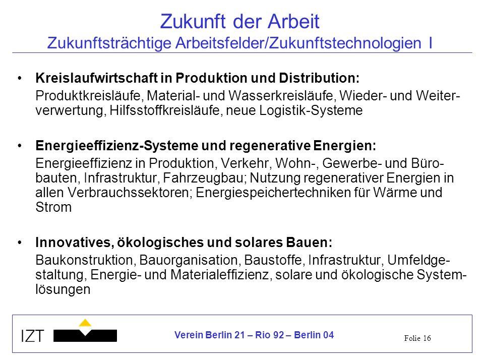 Folie 16 Verein Berlin 21 – Rio 92 – Berlin 04 Zukunft der Arbeit Zukunftsträchtige Arbeitsfelder/Zukunftstechnologien I Kreislaufwirtschaft in Produk