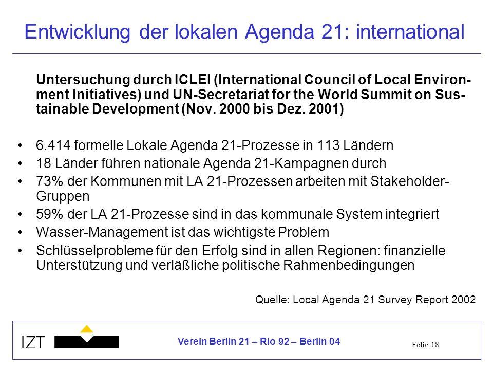 Folie 18 Verein Berlin 21 – Rio 92 – Berlin 04 Entwicklung der lokalen Agenda 21: international Untersuchung durch ICLEI (International Council of Local Environ- ment Initiatives) und UN-Secretariat for the World Summit on Sus- tainable Development (Nov.